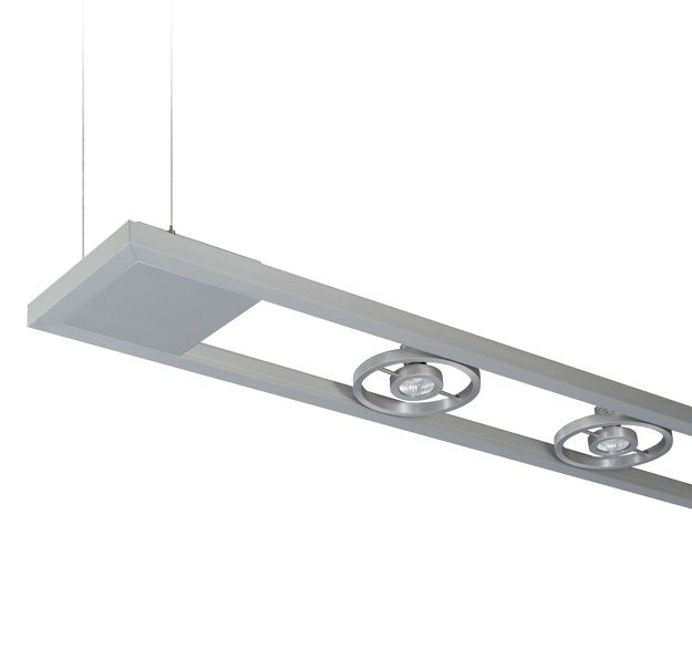 LP 9 Series - The LP 9 family of fixtures consists of two parallel aluminum channels 210mm across. Gimbal ring downlights attach between the extrusions in a hardwired design. The minimal, 26mm frame is ideal for mimimal applications in kitchen, retail, or office lighitng where point source and direct downlight is key.