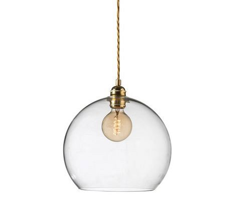 Rowan, 280mm - The Rowan pendant lamp is produced in 4 sizes in a selection of subtle shades of mouth-blown glass, combined with metal fittings and twisted fabric wire in silver or brass.