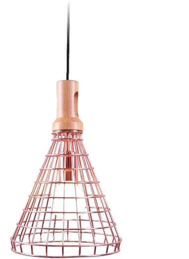 Hudson.25 - Metal shade pendant with copper wire